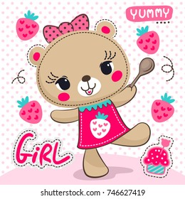 Cartoon cute bear girl with strawberry cupcake on polka dot background illustration vector.