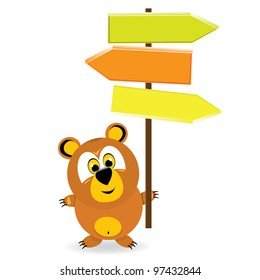 cartoon cute bears with sign for your text. vector illustration.