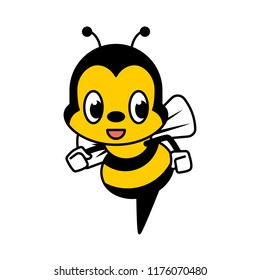 Cartoon cute bee character. Bee flat design isolated on white background.