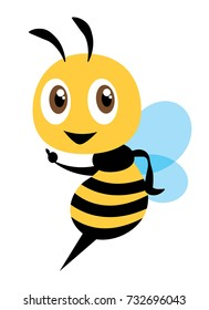 Cartoon cute bee character, flat vector mascot