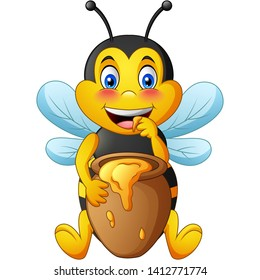Cartoon cute bee with clay pot full of honey. vector illustration