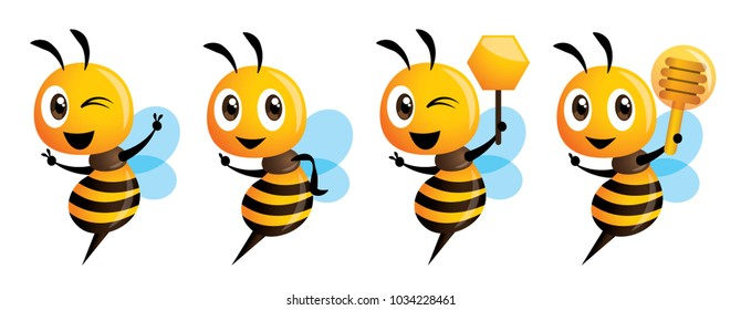 Cartoon cute bee mascot series. Cartoon cute bee pointing. vector illustration isolated
