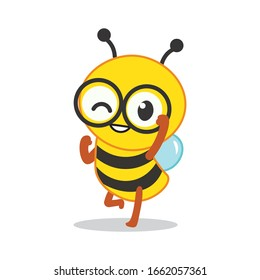 Cartoon cute bee mascot series. Cartoon cute bee pointing. Cute bee holding honeycomb. Cute bee holding honey dipper. Vector illustration isolated
