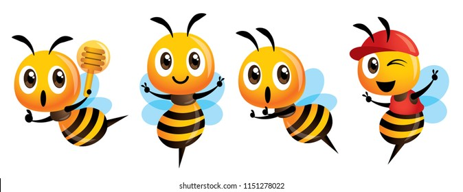 Cartoon cute bee mascot set. Cartoon cute bee showing victory sign, holding a honey dipper and wearing cap - Bee Vector character