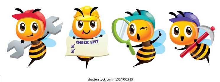 Cartoon cute bee mascot set. Cartoon cute bee holding a spanner, holding a signage, holding a magnifying glass, holding a hoe. Hardworking bee wearing safety cap. Vector illustration isolated