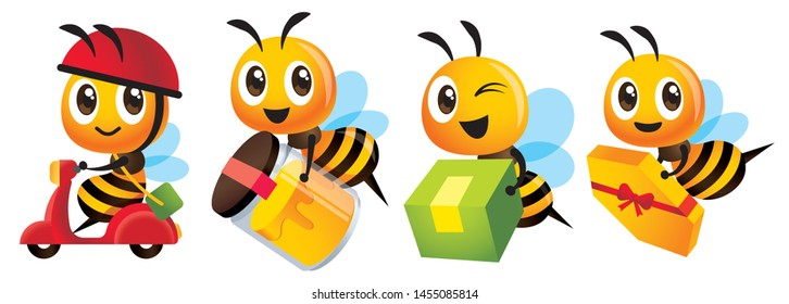 Cartoon cute bee mascot set. Cartoon cute bee deliver product set. Cute bee ride scooter, cute bee carry organic honey bottle - Vector character illustration isolated