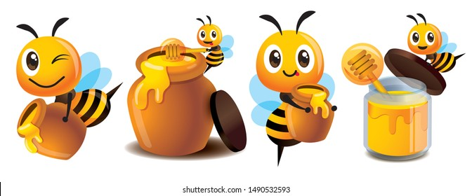 Cartoon cute bee mascot set. Cartoon cute bee with honey pot set. Cute bee carries honey pot and organic honey bottle - Vector character mascot set