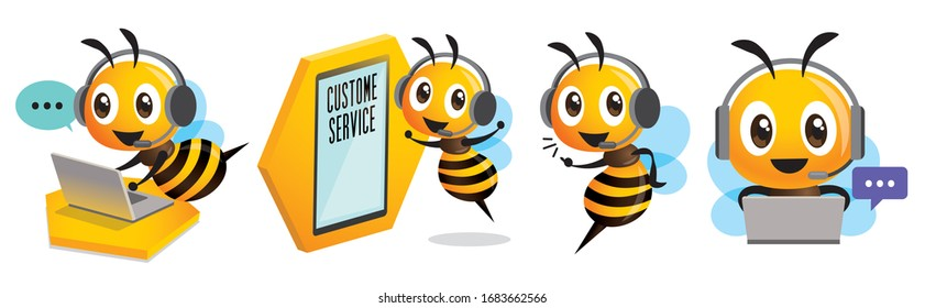 Cartoon cute bee mascot set. Smiling bee operator with headset working at call centre and communicating with customer. Customer service concept - Vector character set