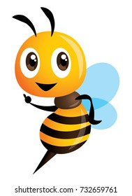 Cartoon cute bee pointing hand - Vector mascot character isolated