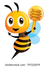 Cartoon cute bee pointing and holding a honey dipper. vector illustration isolated