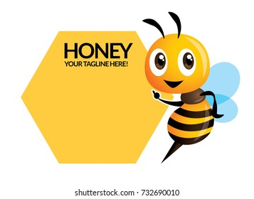 Cartoon cute bee pointing to honeycomb signage or signboard - Vector character illustration isolated