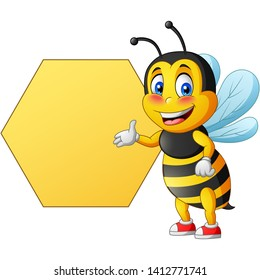 Cartoon cute bee pointing to signboard. vector illustration