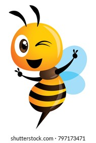 Cartoon cute bee showing victory sign hand - vector character mascot
