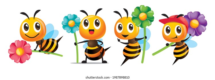 Cartoon cute bee with smile series holding big colourful flowers mascot set