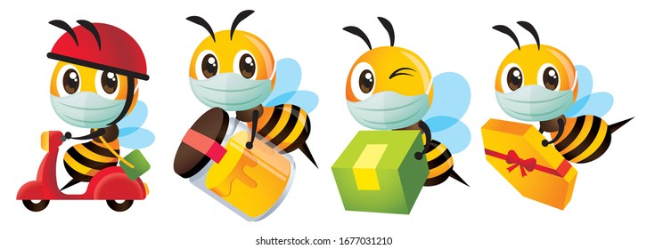 Cartoon cute bee wearing protective surgical mask for delivery to protect against disease and bacteria - Vector character mascot set