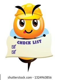 Cartoon cute bee wearing yellow safety cap and holding a checklist signage. Cute mascot hardworking happy bee. Vector illustration isolated