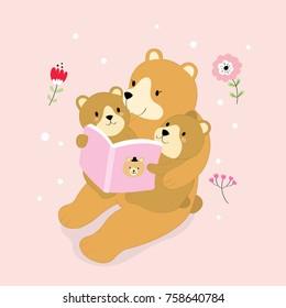 Cartoon cute  big bear reading tales for little bear vector.
