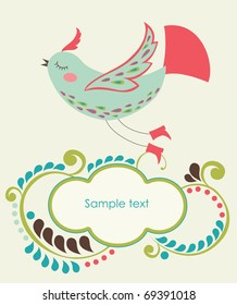 cartoon cute bird with text frame. vector illustration