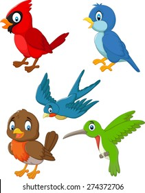 Cartoon cute birds collection set