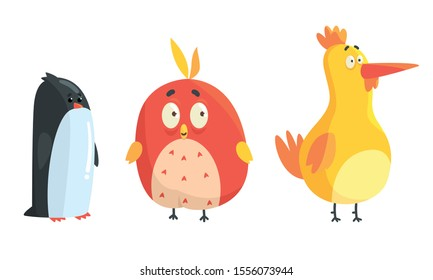 Cartoon cute birds. Vector illustration on a white background.