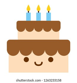 Cartoon Cute Bithday Cake Icon Isolated On White Background