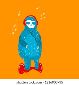 Cartoon cute blue sloth with headphones rides on a hoverboard. Vector illustration.