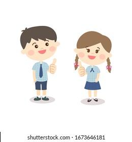 Cartoon Cute Boy and Girl Vector