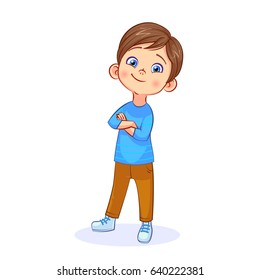 Cartoon cute boy stands in a confident pose, arms crossed over his chest. Colorful vector isolated kids illustration.