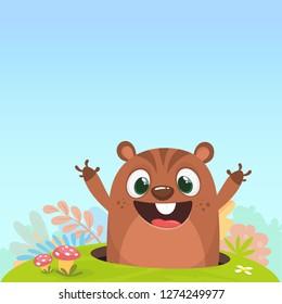 Cartoon cute brown groundhog or marmot or woodchuck in major hat waving his hands. Vector illustration. Groundhog day.
