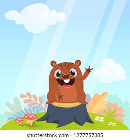 Cartoon cute brown groundhog or marmot or woodchuck standing on a stump in a meadow green grass background