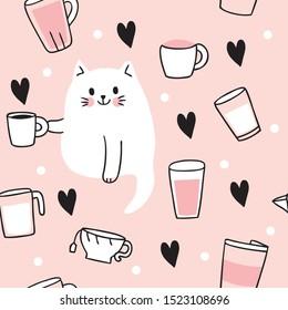 Cartoon cute  cat drinking coffee seamless pattern vector.