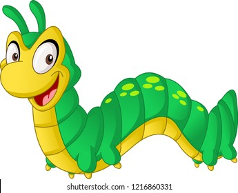 Cartoon cute Caterpillar. Vector illustration of funny happy animal.