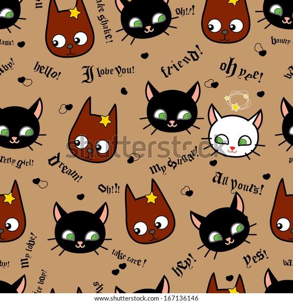 Cartoon Cute Cats Dogs Vector Seamless Stock Vector Royalty Free 167136146