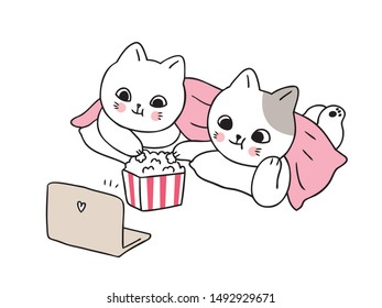 Cartoon cute cats look movie vector.
