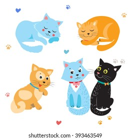 Cartoon Cute Cats Vector Set. Various Kittens On White Background. Sleeping And Sitting Cat.