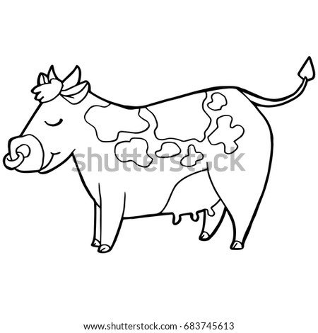 Cartoon Cute Cattle Cow Coloring Page Stock Vector (Royalty Free ...