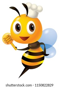 Cartoon cute chef bee holding a honey dipper. - Vector mascot