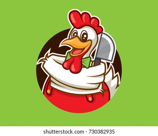 Cartoon cute chicken mascot character with cleaver vector illustration logo