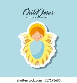 cartoon cute child jesus over blue background. colorful design. vector illustration