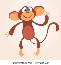 Cartoon cute chimpanzee monkey waving. Vector illustration isolated