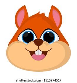 Cartoon of a cute chipmunk head - Vector