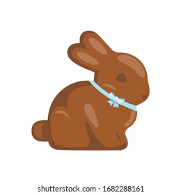 Cartoon cute chocolate easter bunny with blue bow, vector illustration