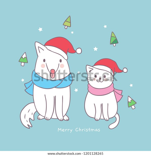Cartoon Cute Christmas Cat Dog Vector Stock Vector Royalty Free 1201128265