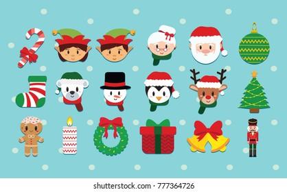 Cartoon cute christmas set isolated