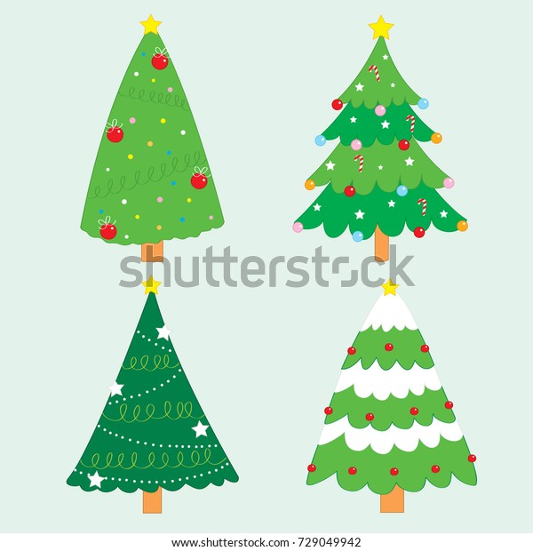 cartoon cute christmas tree set vector stock vector royalty free 729049942 https www shutterstock com image vector cartoon cute christmas tree set vector 729049942