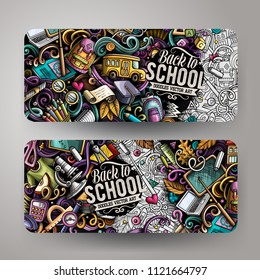 Cartoon cute colorful vector hand drawn doodles School corporate identity. 2 horizontal banners design. Templates set. All objects separate