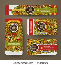 Cartoon cute colorful vector hand drawn doodles mexican food corporate identity set. Templates design of banners, id cards, flyer