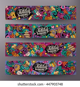 Cartoon cute colorful vector hand drawn doodles holidays corporate identity. 4 horizontal banners design. Templates set