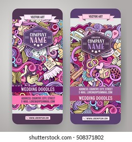 Cartoon cute colorful vector hand drawn doodles wedding corporate identity. 2 vertical banners design. Templates set