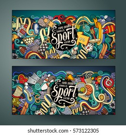 Cartoon cute colorful vector hand drawn doodles Sport corporate identity. 2 horizontal banners design. Templates set